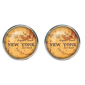 Mens New York Antique Map Cufflinks